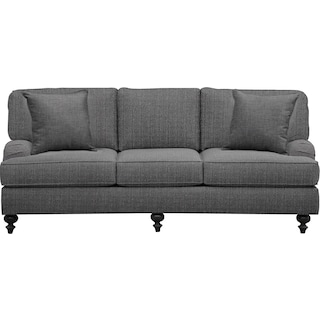 "Avery English Arm Sofa 86"" Depalma Charcoal w/ Depalma Charcoal Pillow"