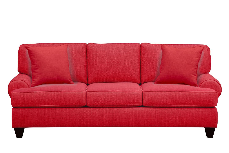 "Living Room Furniture - Bailey Roll Arm Sofa 91"" Depalma Cherry w/ Depalma Cherry Pillow"