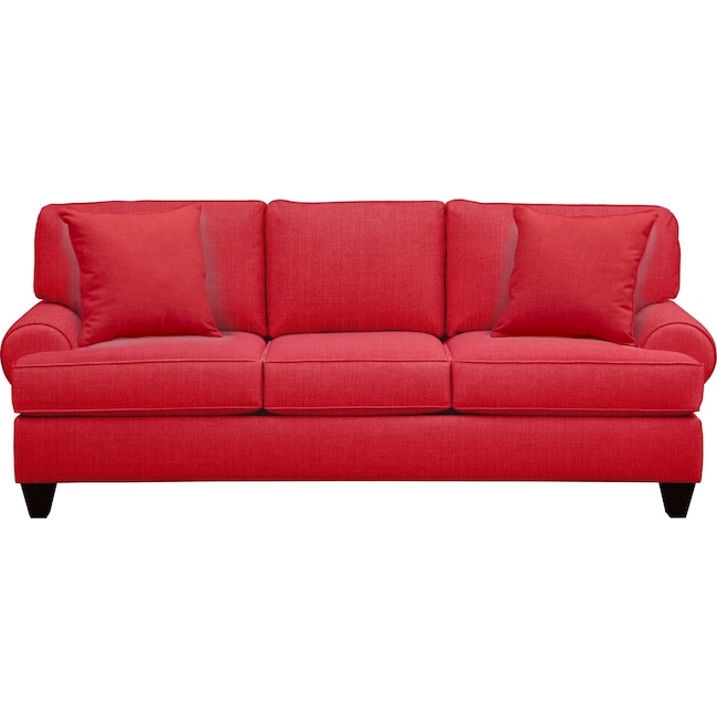 "Living Room Furniture - Bailey Roll Arm Sofa 91"" Depalma Cherry w/ Depalma Cherry Pillow"
