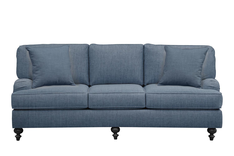 "Living Room Furniture - Avery English Arm Sofa 86"" Milford II Indigo  w/ Milford II Indigo Pillow"