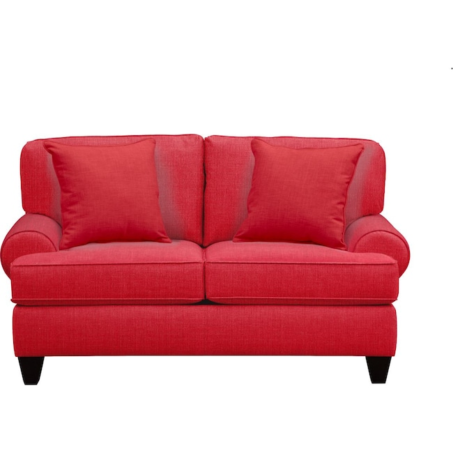 "Living Room Furniture - Bailey Roll Arm Sofa 67"" Depalma Cherry w/ Depalma Cherry Pillow"