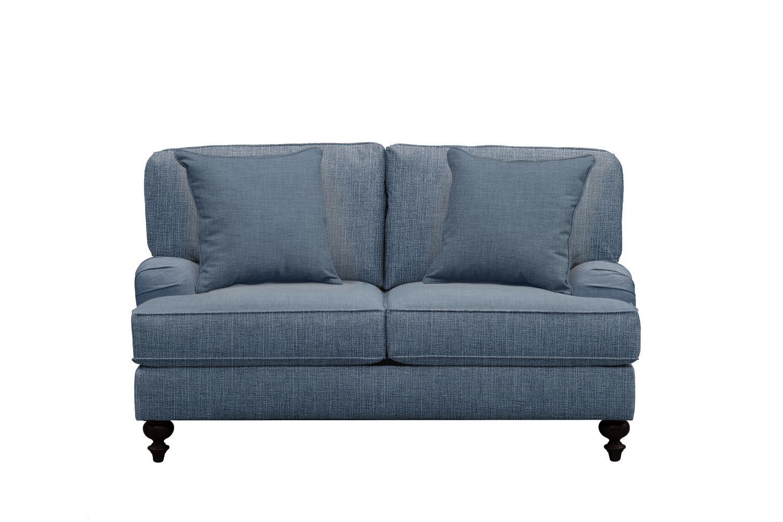 "Living Room Furniture - Avery English Arm Sofa 62"" Milford II Indigo  w/ Milford II Indigo Pillow"