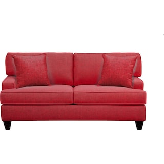 """Conner Track Arm Sofa 75"""" Milford II Red w/ Milford II Red  Pillow"""
