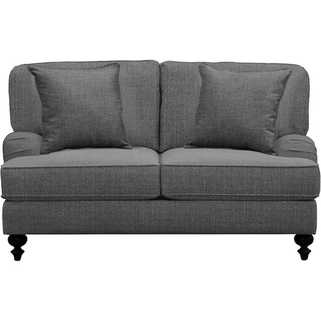"Living Room Furniture - Avery English Arm Sofa 62"" Depalma Charcoal w/ Depalma Charcoal Pillow"