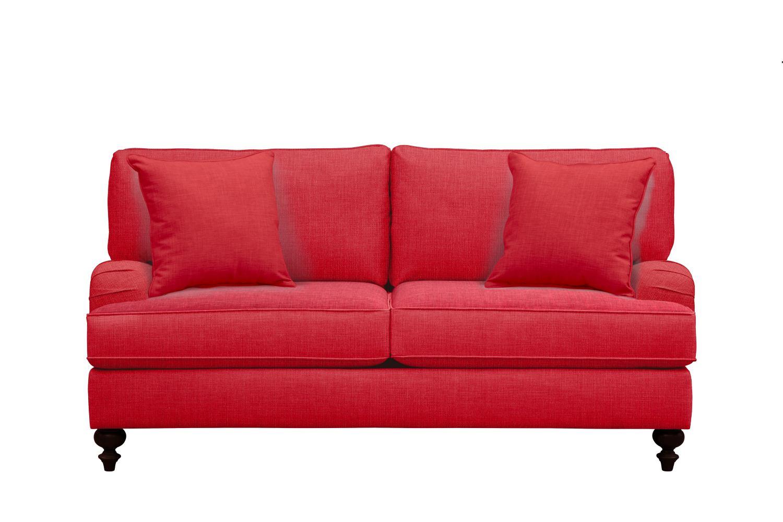 "Avery English Arm Sofa 74"" Depalma Cherry w/ Depalma Cherry Pillow"