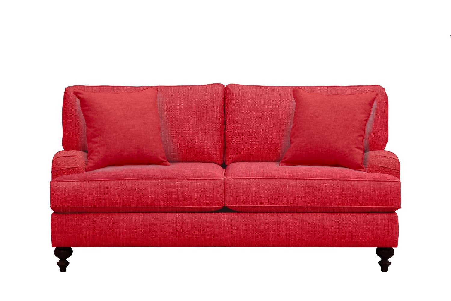"Living Room Furniture - Avery English Arm Sofa 74"" Depalma Cherry w/ Depalma Cherry Pillow"