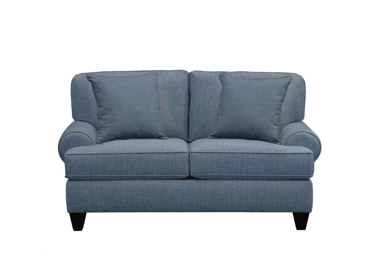 "Living Room Furniture - Bailey Roll Arm Sofa 67"" Milford II Indigo  w/ Milford II Indigo Pillow"