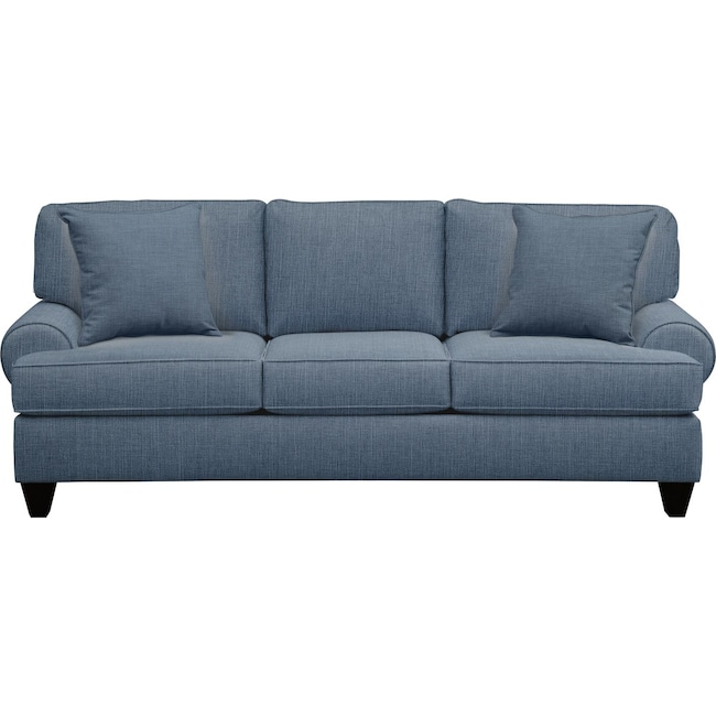 "Living Room Furniture - Bailey Roll Arm Sofa 91"" Milford II Indigo  w/ Milford II Indigo Pillow"