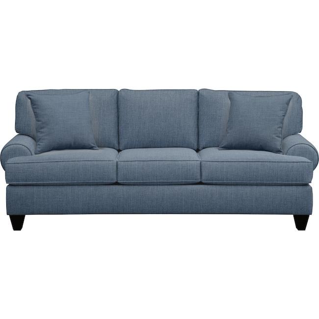 "Living Room Furniture - Bailey Roll Arm Sofa 91"" Milford II Indigo  w/ Milford II Indigo Pillow"