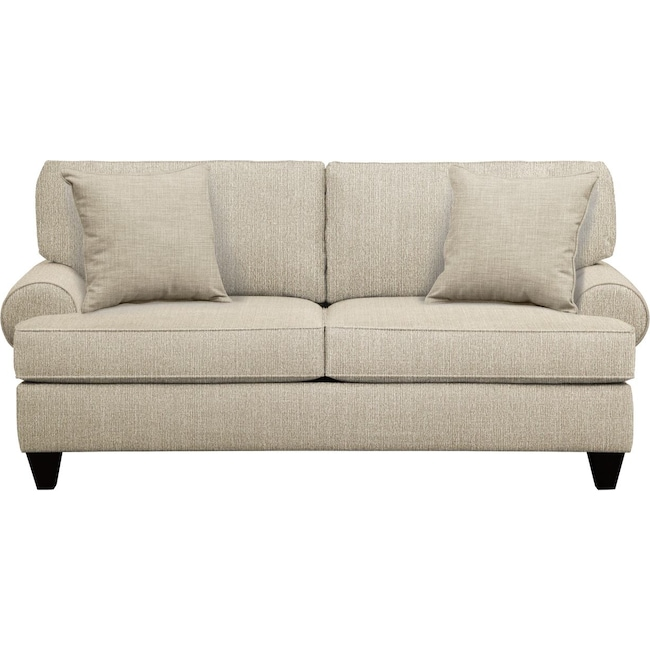 "Living Room Furniture - Bailey Roll Arm Sofa 79"" Depalma Taupe w/ Depalma Taupe  Pillow"
