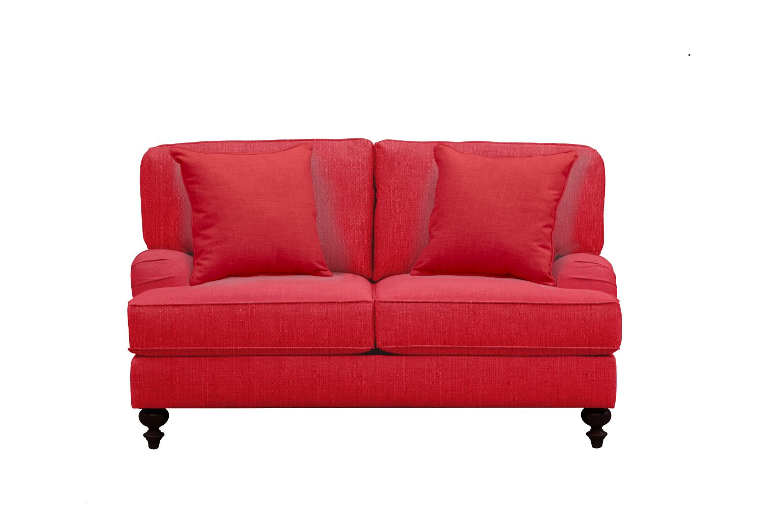"Living Room Furniture - Avery English Arm Sofa 62"" Depalma Cherry w/ Depalma Cherry Pillow"