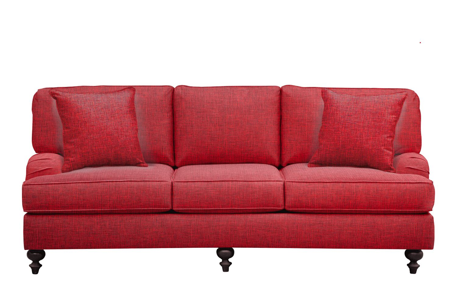 "Living Room Furniture - Avery English Arm Sofa 86"" Milford II Red w/ Milford II Red  Pillow"