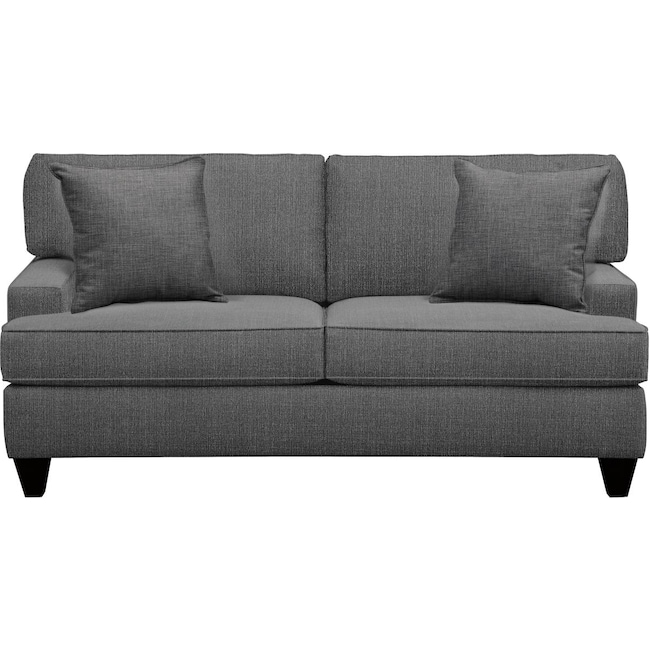 "Living Room Furniture - Conner Track Arm Sofa 75"" Depalma Charcoal w/ Depalma Charcoal Pillow"