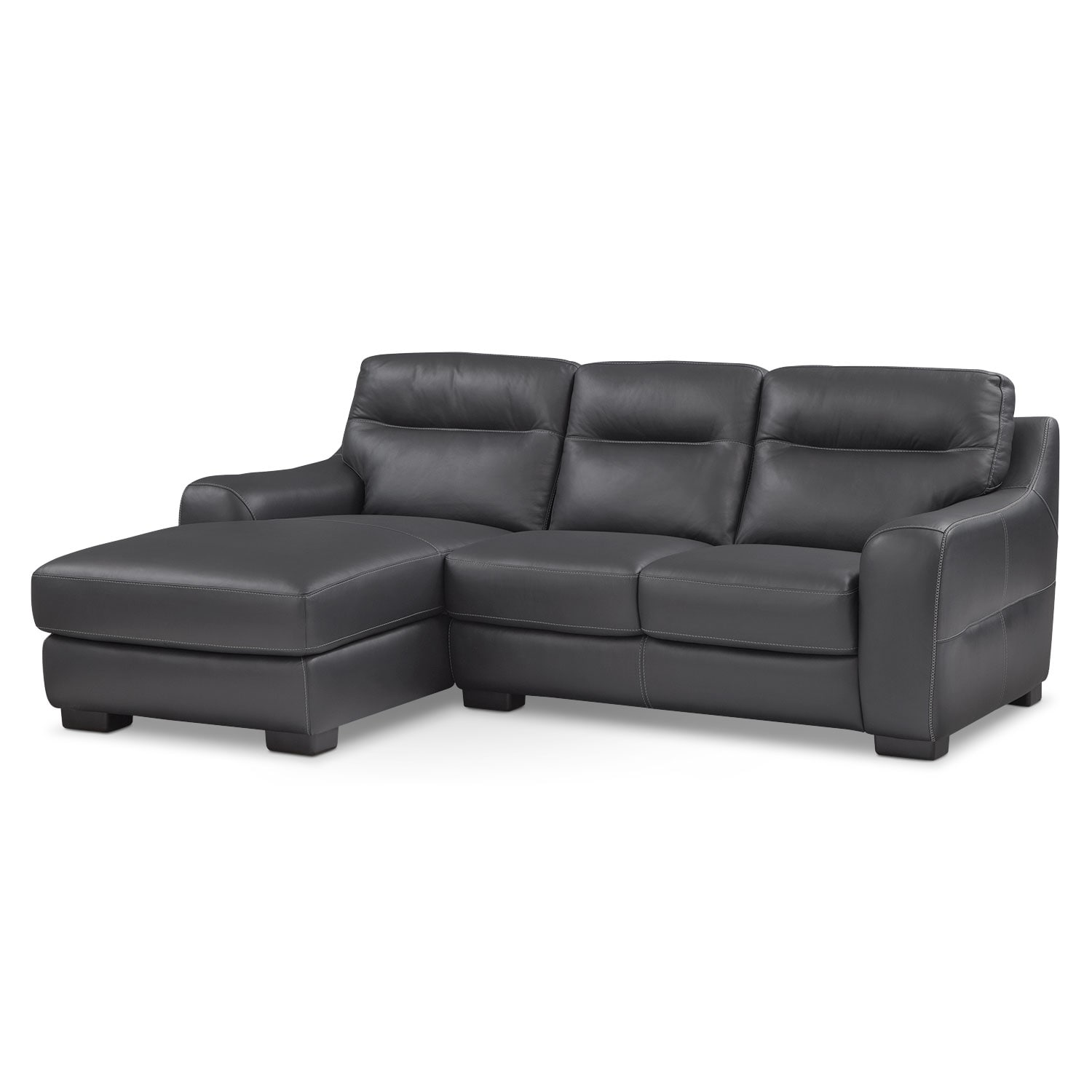 Living Room Furniture - Rocco Black 2 Pc. Left-Facing Chaise Sectional