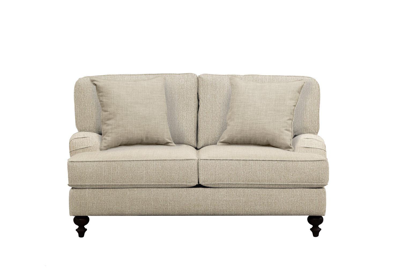"Living Room Furniture - Avery English Arm Sofa 62"" Depalma Taupe w/ Depalma Taupe  Pillow"