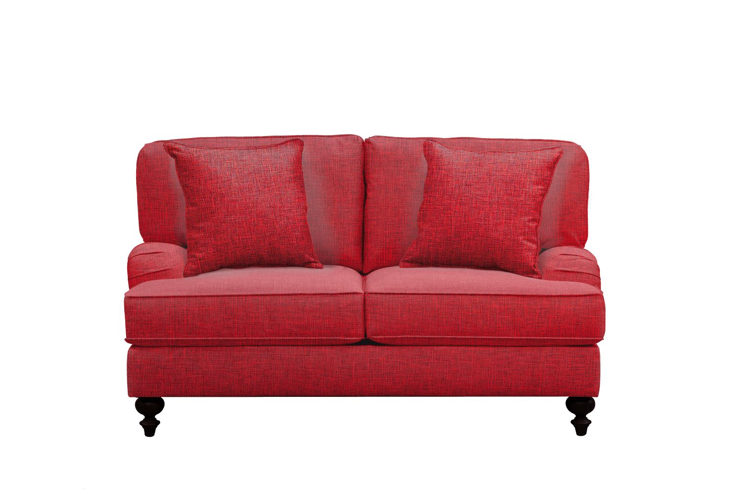 "Avery English Arm Sofa 62"" Milford II Red w/ Milford II Red  Pillow"