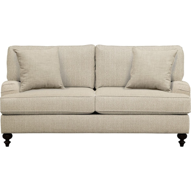 "Living Room Furniture - Avery English Arm Sofa 74"" Depalma Taupe w/ Depalma Taupe  Pillow"