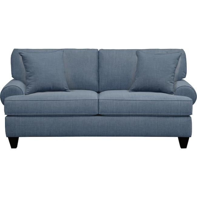 "Living Room Furniture - Bailey Roll Arm Sofa 79"" Milford II Indigo  w/ Milford II Indigo Pillow"