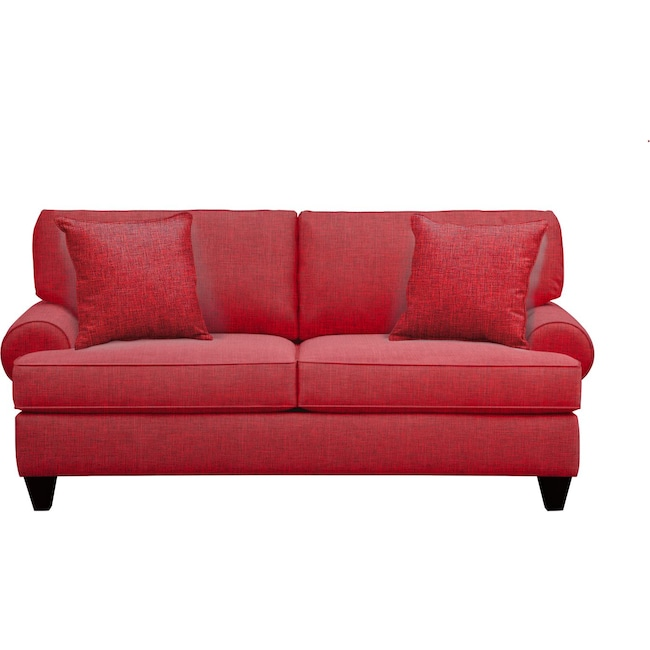 "Living Room Furniture - Bailey Roll Arm Sofa 79"" Milford II Red w/ Milford II Red  Pillow"