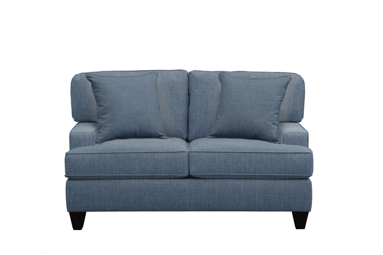 "Living Room Furniture - Conner Track Arm Sofa 63"" Milford II Indigo  w/ Milford II Indigo Pillow"