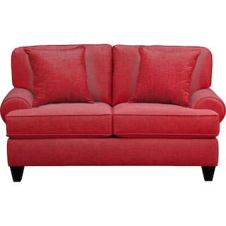 """Bailey Roll Arm Sofa 67"""" Milford II Red w/ Milford II Red  Pillow"""