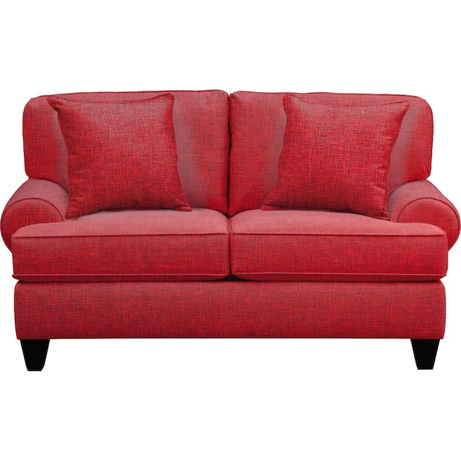 """Living Room Furniture - Bailey Roll Arm Sofa 67"""" Milford II Red w/ Milford II Red  Pillow"""