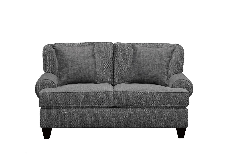 "Living Room Furniture - Bailey Roll Arm Sofa 67"" Depalma Charcoal w/ Depalma Charcoal Pillow"