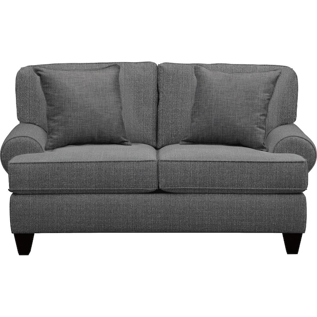 "Living Room Furniture - Bailey Roll Arm Sofa 67"" Depalma Charcoal w/ Depalma Charcoal Pillow"