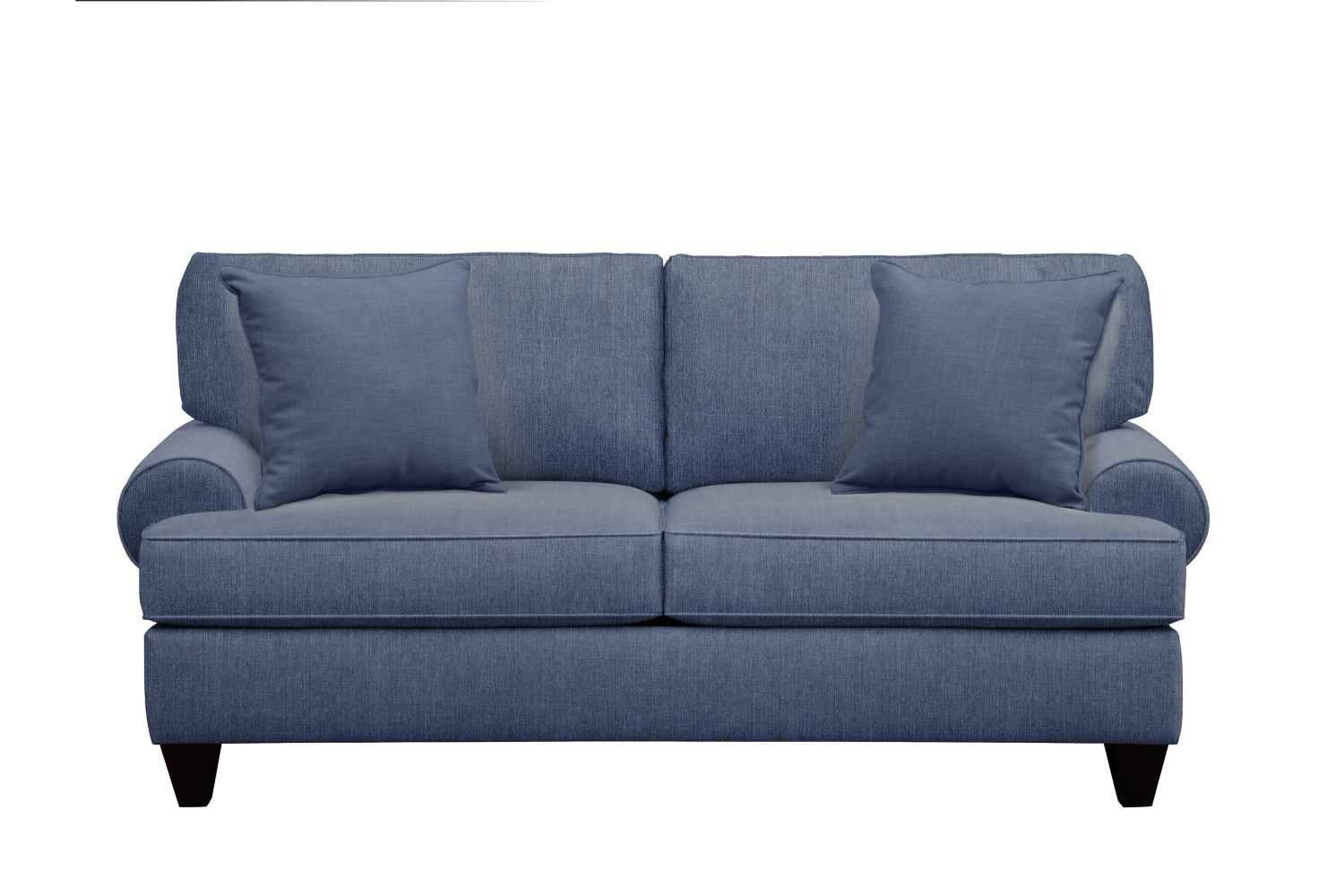"Living Room Furniture - Bailey Roll Arm Sofa 79"" Depalma Ink w/ Depalma Ink Pillow"