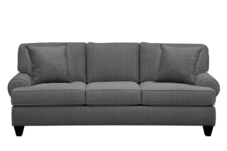 "Living Room Furniture - Bailey Roll Arm Sofa 91"" Depalma Charcoal w/ Depalma Charcoal Pillow"