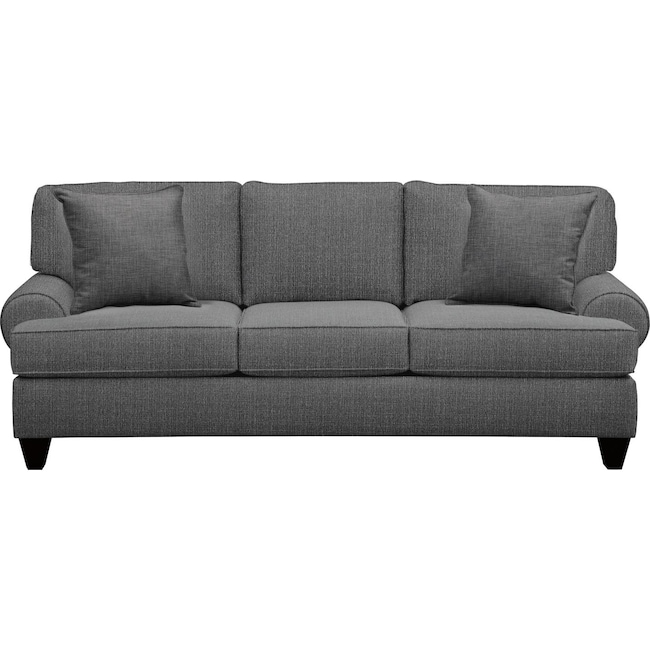 "Living Room Furniture - Bailey Roll Arm Sofa 91"" Depalma Charcoal w/ Depalma Charcoal Pillow"