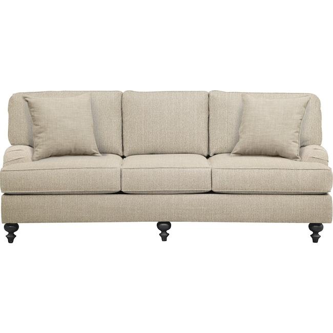 "Living Room Furniture - Avery English Arm Sofa 86"" Depalma Taupe w/ Depalma Taupe  Pillow"