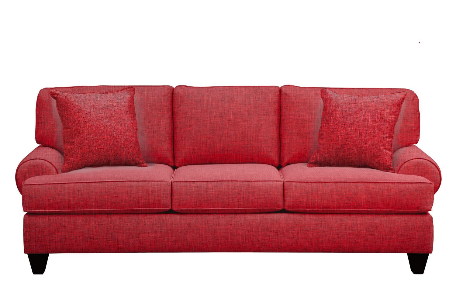 "Living Room Furniture - Bailey Roll Arm Sofa 91"" Milford II Red w/ Milford II Red  Pillow"