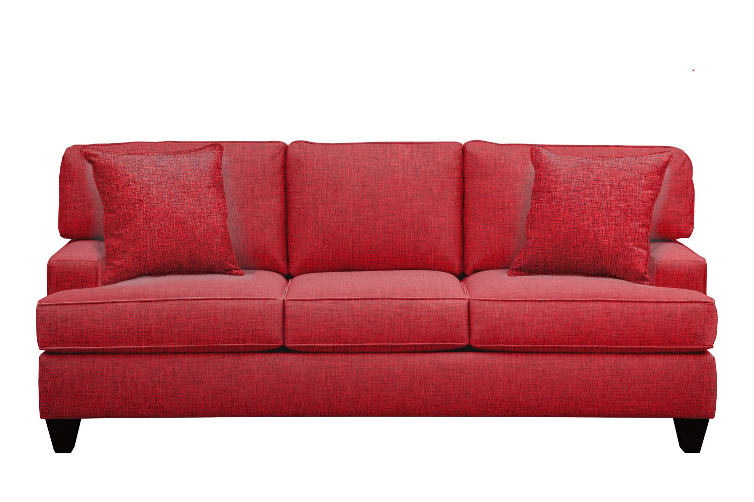 "Living Room Furniture - Conner Track Arm Sofa 87"" Milford II Red w/ Milford II Red  Pillow"