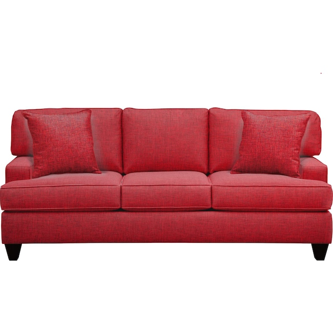 """Living Room Furniture - Conner Track Arm Sofa 87"""" Milford II Red w/ Milford II Red  Pillow"""