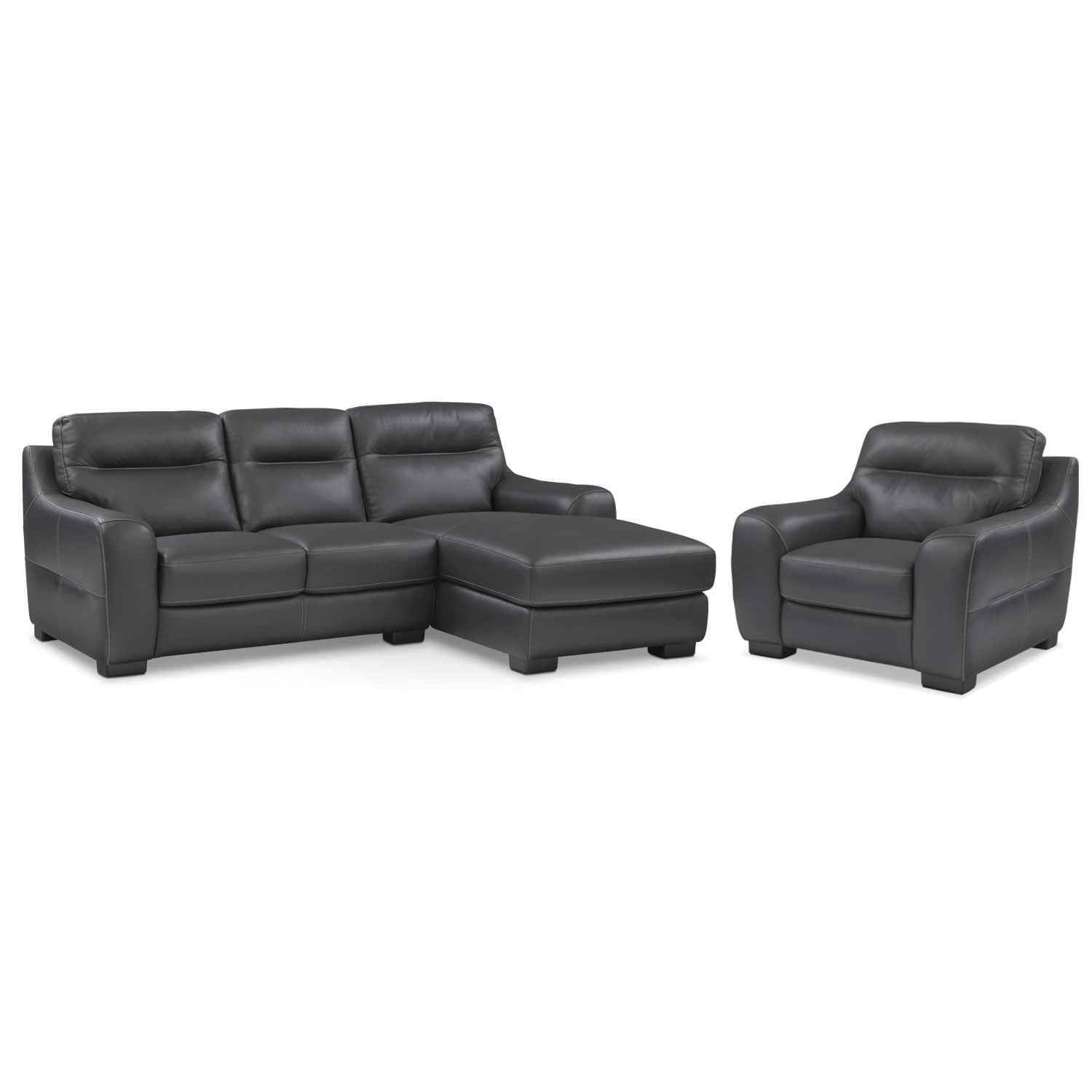 [Rocco Black 2 Pc. Right-Facing Chaise Sectional and Chair]