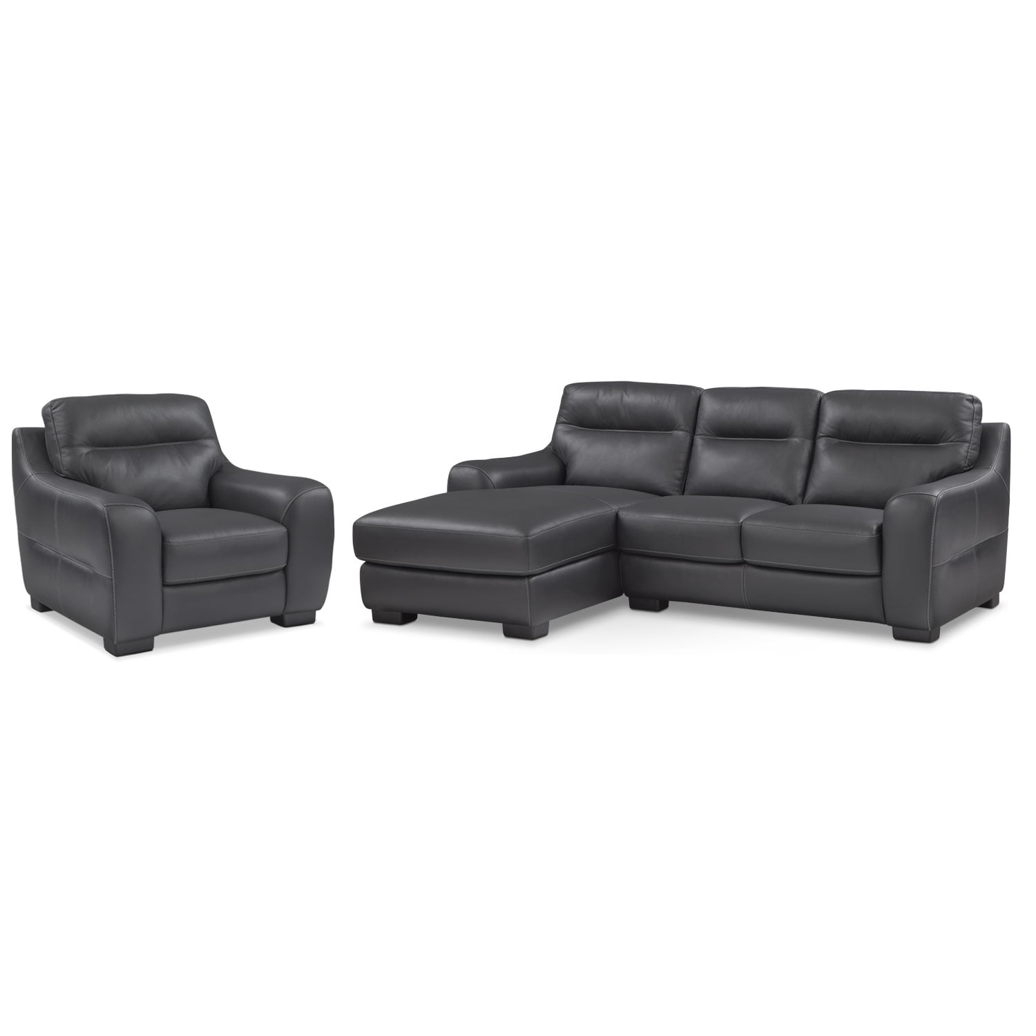 Living Room Furniture - Rocco 2-Piece Left-Facing Chaise Sectional and Chair  - Black
