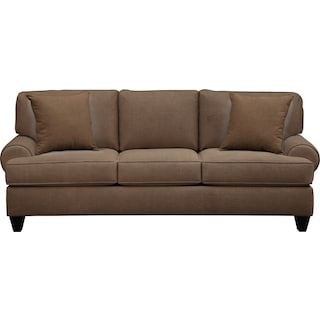 "Bailey Roll Arm Sofa 91"" Oakley III Java w/ Oakley III Java Pillow"