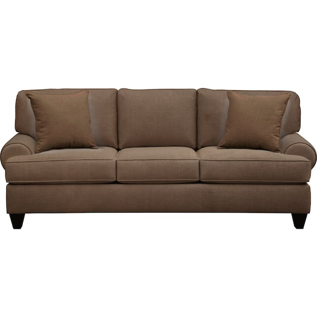 "Living Room Furniture - Bailey Roll Arm Sofa 91"" Oakley III Java w/ Oakley III Java Pillow"