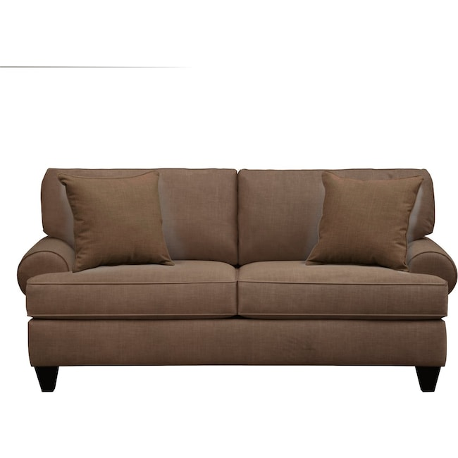 "Living Room Furniture - Bailey Roll Arm Sofa 79"" Oakley III Java w/ Oakley III Java Pillow"