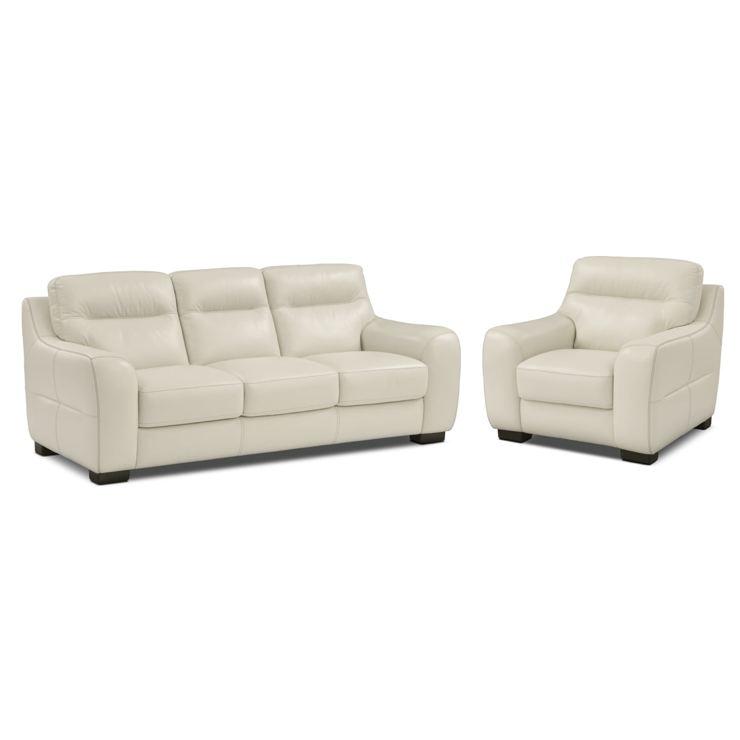 Living Room Furniture - Rocco Snow 2 Pc. Living Room w/ Chair