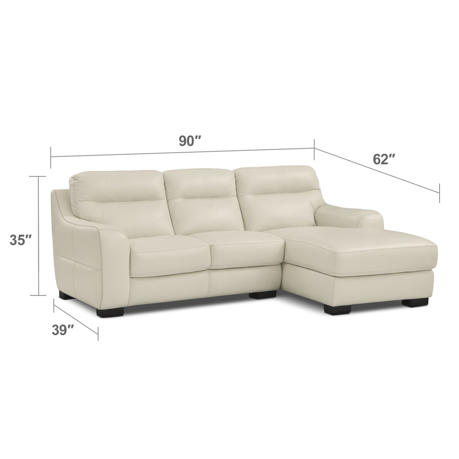 Living Room Furniture - Rocco 2-Piece Right-Facing Sectional - Snow