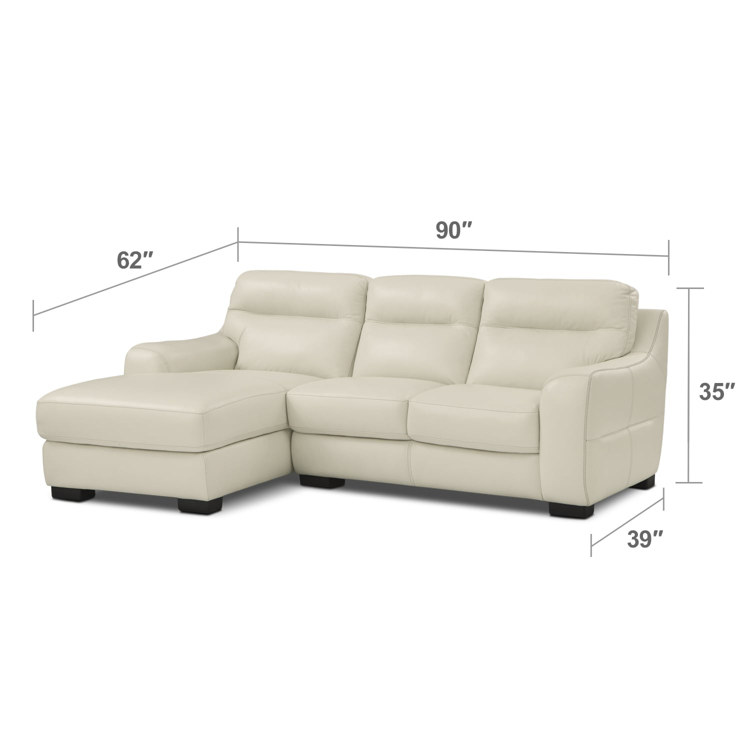 Living Room Furniture - Rocco 2-Piece Sectional with Left-Facing Chaise - Snow