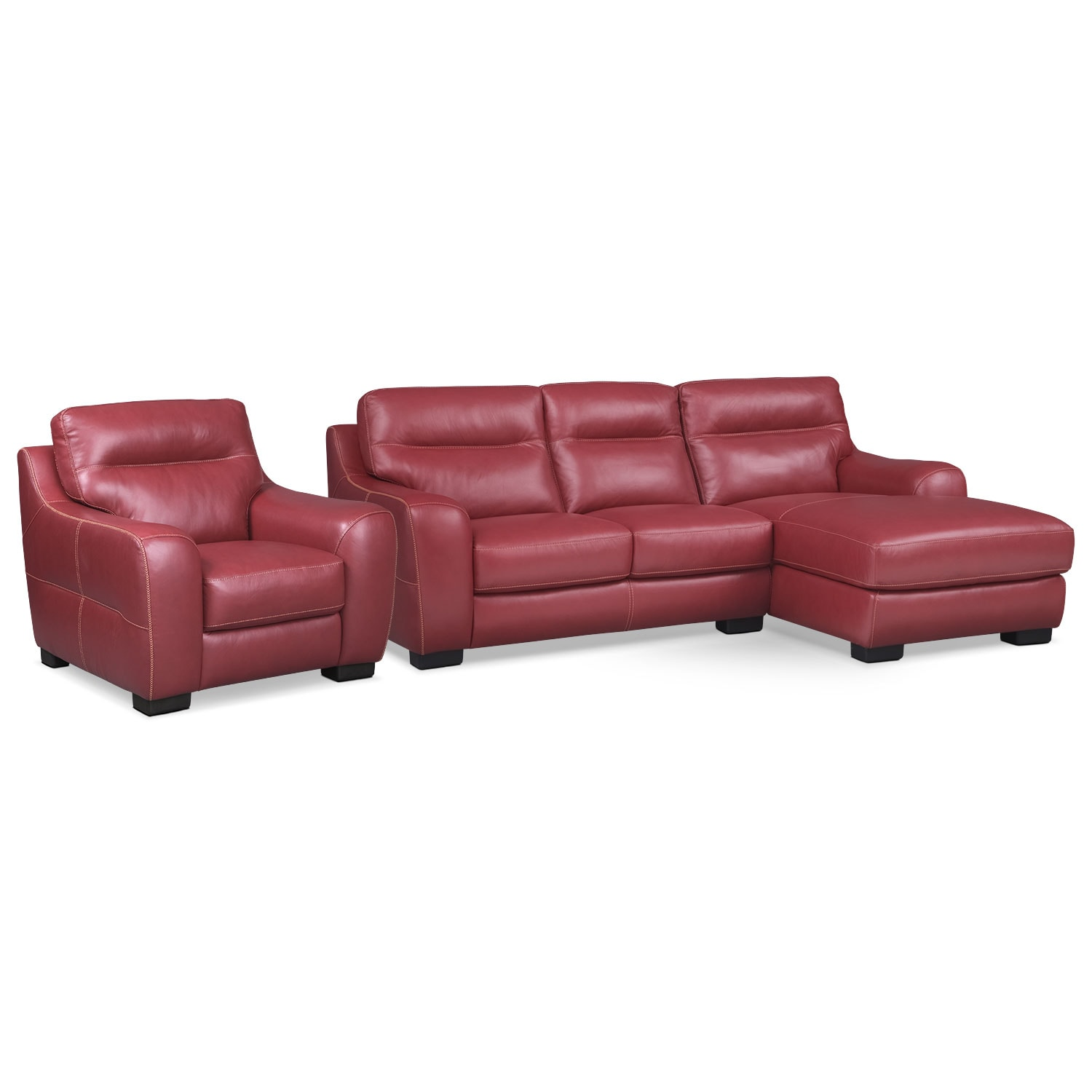 [Rocco Red 2 Pc. Right-Facing Chaise Sectional and Chair]