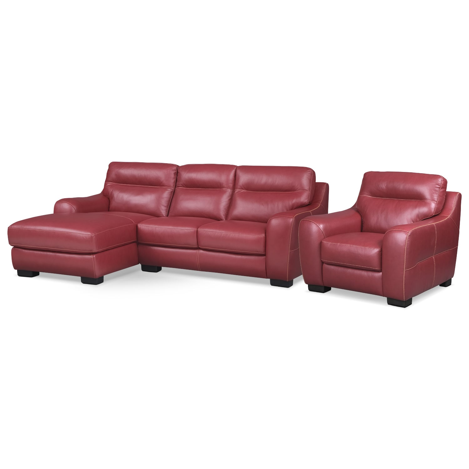 [Rocco Red 2 Pc. Left-Facing Chaise Sectional and Chair]