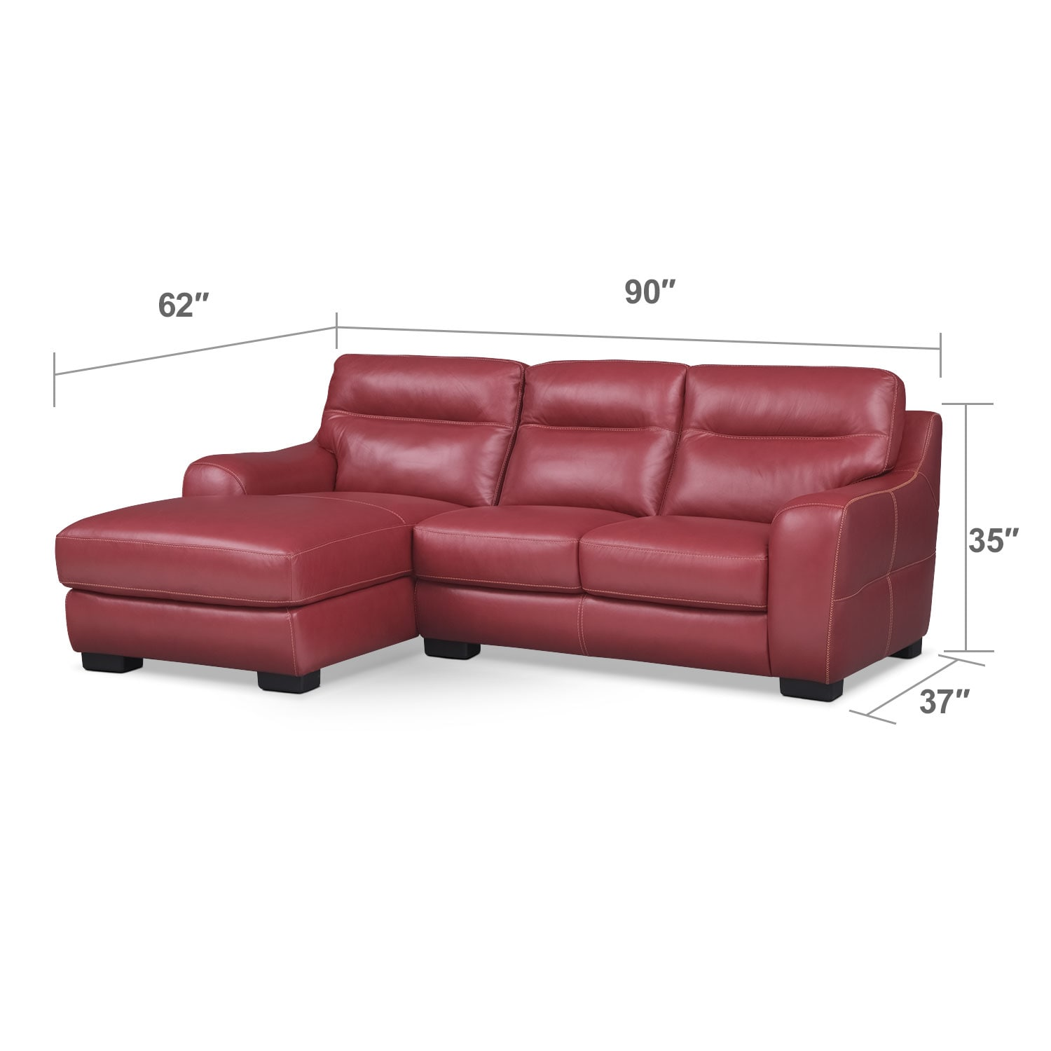 Living Room Furniture - Rocco 2-Piece Left-Facing Sectional - Red