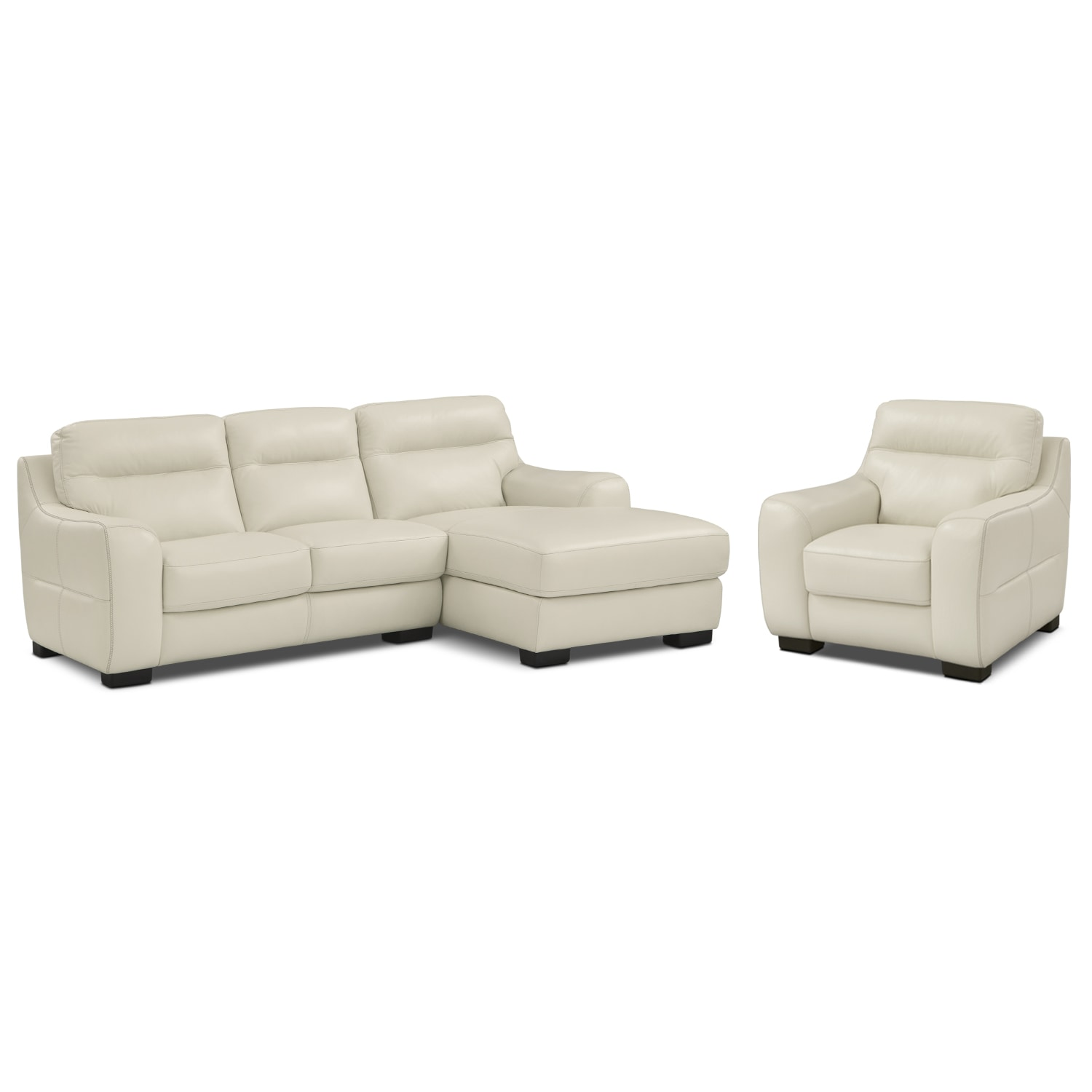 [Rocco Snow 2 Pc. Right-Facing Chaise Sectional and Chair]