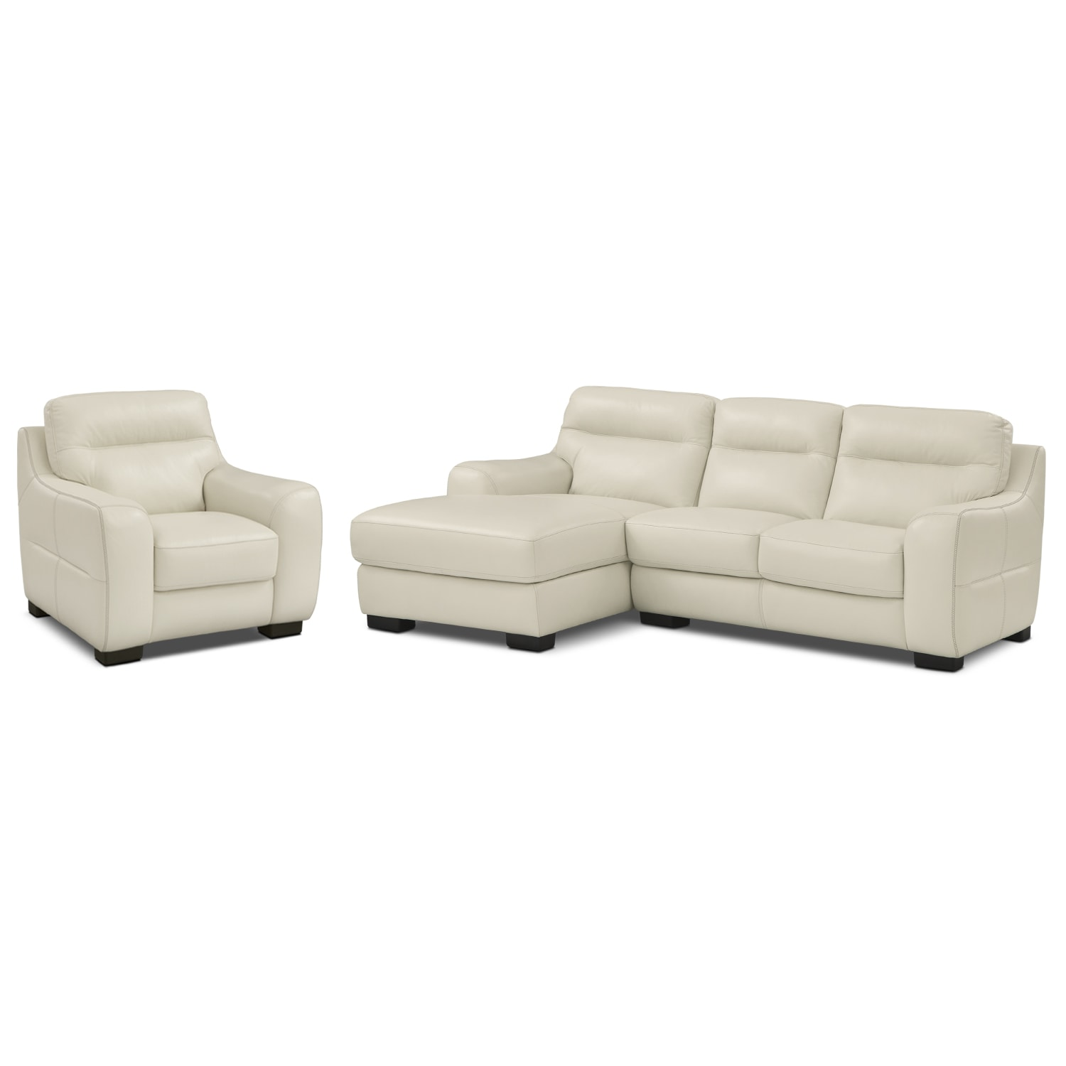 [Rocco Snow 2 Pc. Left-Facing Chaise Sectional and Chair]