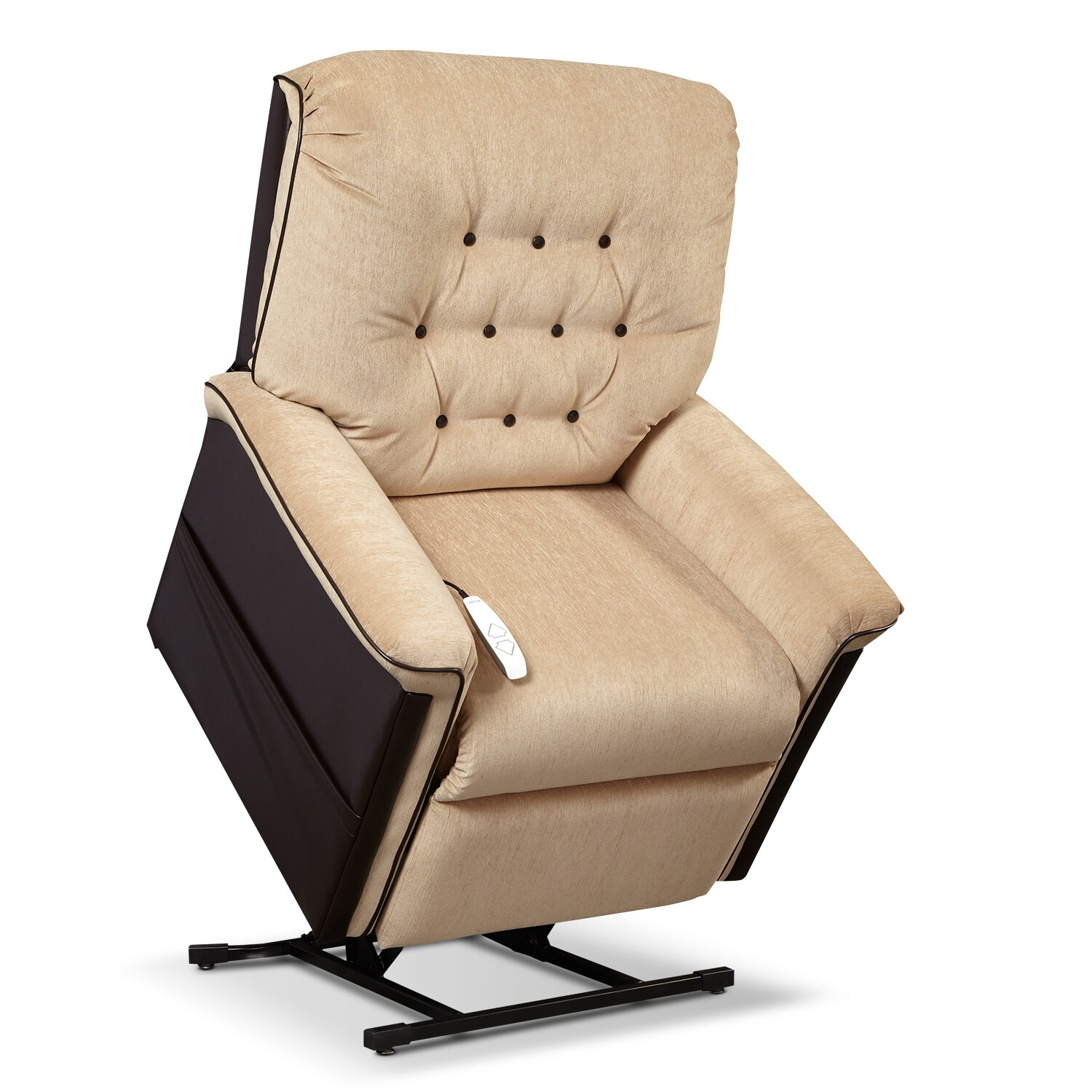 Living Room Furniture - Karmon Lift Chair - Chestnut and Sand