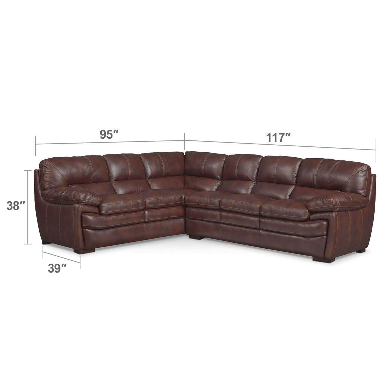 Living Room Furniture - Peyton Chestnut 2-Piece Sectional - Chestnut